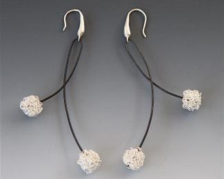 wire and silver bead earrings