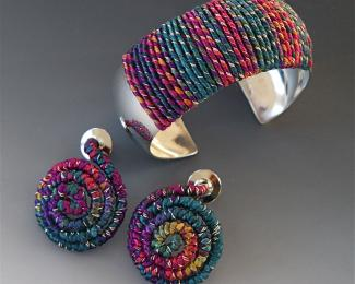 fiber and wire cuff and earrings