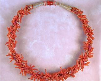 fiberwire and red coral necklace
