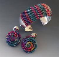 """Mia"" Fiber Wire Cuff and Earrings"